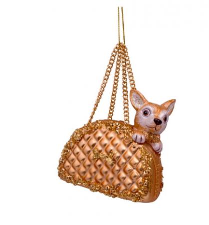 Kerstbal met hondje in handtas