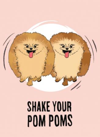 """Carte de vœux """"Shake your pom poms"""""""