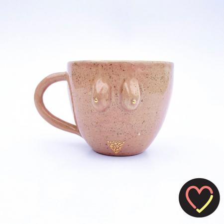 Roze mok uit keramiek met handbeschilderde details 'Elodie'