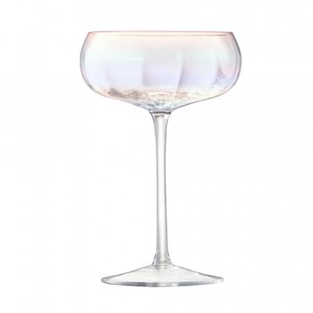Set van 4 mondgeblazen champagneglazen met parelmoereffect