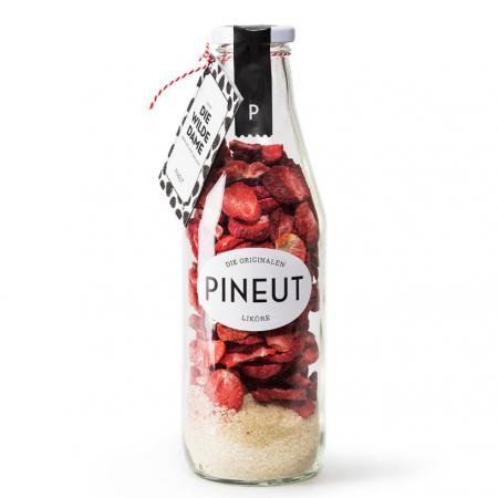 Fles om zelf aardbeienlikeur in te maken