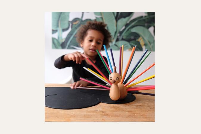 'Ik ben de pauw' potloodhouder (incl. 24 vrolijke potloden)