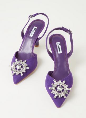 Sandales en daim avec strass
