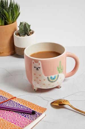 Roze keramische mok met lama