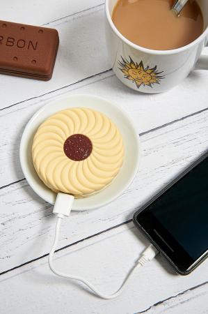 Powerbank in de vorm van een koekje