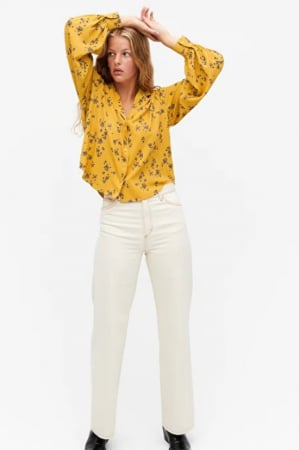 Blouse en satin jaune