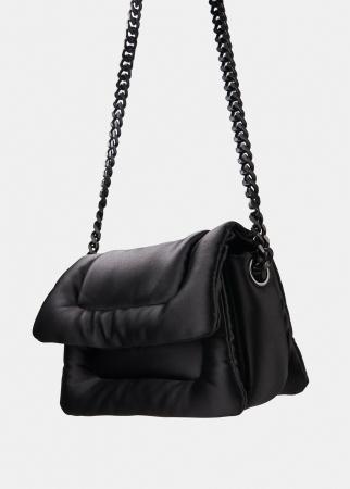 Zwarte gewatteerde handtas
