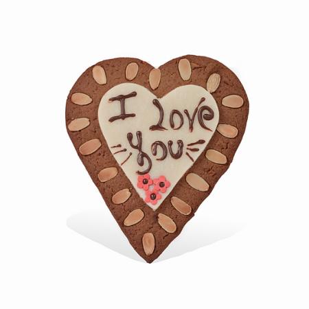 Hartvormige speculaas met marsepein en opschrift 'I love you'