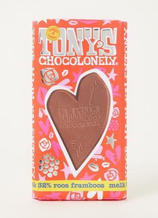 Melkchocoladereep met framboos 'Valentony'