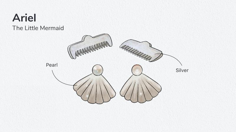 Ariel la Petite Sirène – Boucles d'oreilles et barrettes 600€