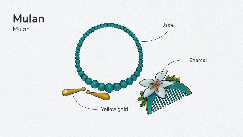 Mulan – Boucles d'oreilles, collier et parure de cheveux 1800€