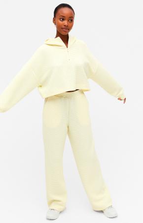 Geel joggingpak met cropped hoodie