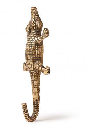 Goudkleurige wandhaak in de vorm van een krokodil