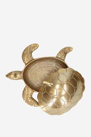 Goudkleurig opbergdoosje in de vorm van een schildpad