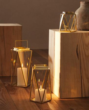 Goudkleurige lantaarn uit glas