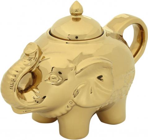 Goudkleurige suikerpot in de vorm van een olifant
