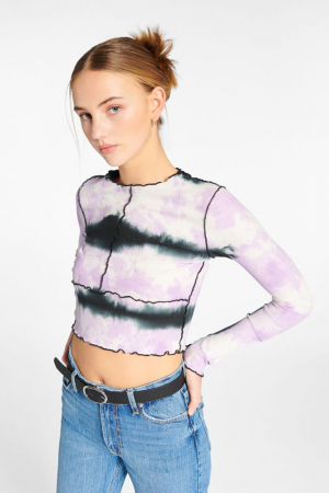 Tie-dye T-shirt met lange mouwen