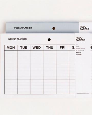 Weekplanner van gerecycleerd papier