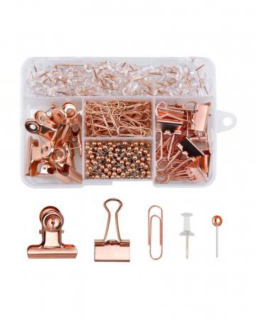 Rosegouden set van (paper)clips, punaises en spelden