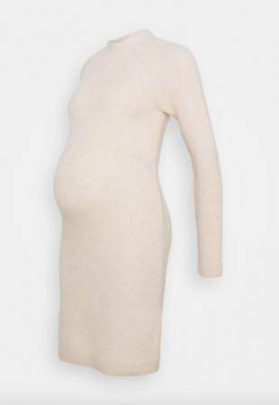 Ecruribgebreidemidi-jurk metlange mouwen