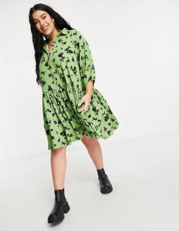 Robe verte à fleurs