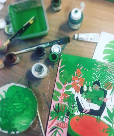 De illustraties in onze plant special? Die zijn van de hand van Hanne Holvoet, die ze stuk voor stuk schilderde.