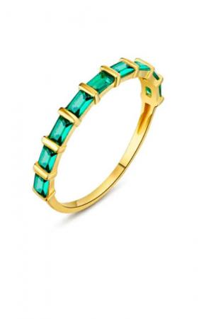 Goudkleurige ring met groene zirkonia