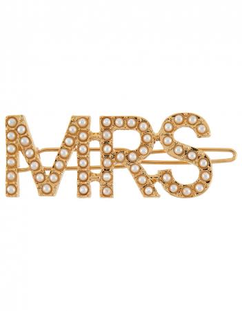 Goudkleurige haarspeld met opschrift 'Mrs.' bezet met parels