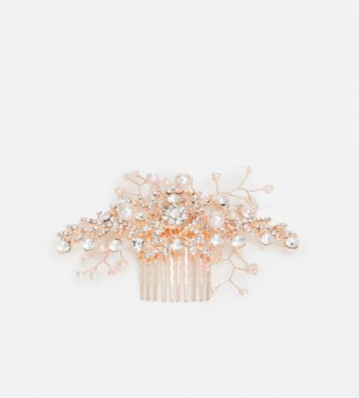 Roségoudkleurige haarkam met parels en stras