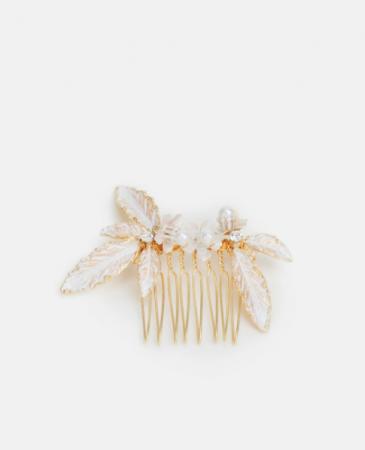 Goudkleurige haarkammet parels en stras