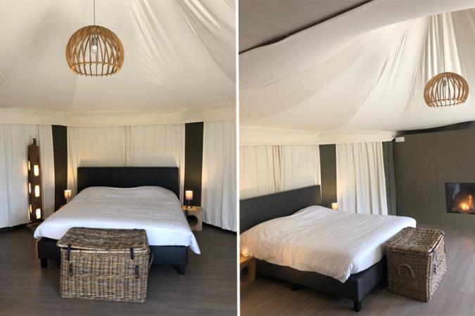Le lit double dans la tente Shaka