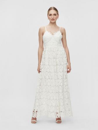 Kanten midi-jurk met fijne bandjes