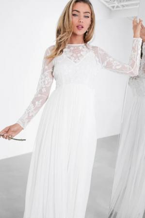 Maxi-jurk met lange mouwen en borduursels