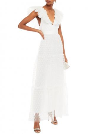Mouwloze midi-jurk met borduursels en V-hals