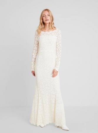 Kanten maxi-jurk met boothals en lange mouwen