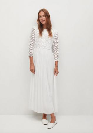 Midi-jurk met gehaakte body en driekwartmouwen