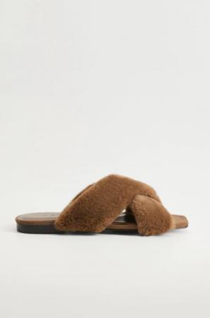 Bruine sandalen in faux fur