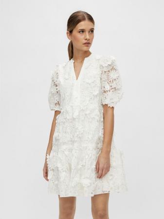 Mini-jurk met korte mouwen en bloemenapplicaties