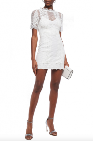 Kanten mini-jurk met korte mouwen