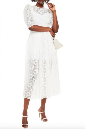 Gehaakte midi-jurk met korte mouwen uit kant