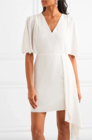 Minimalistische mini-jurk met vlindermouwen en V-hals