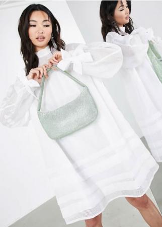 Organza mini-jurk met strikmouwen