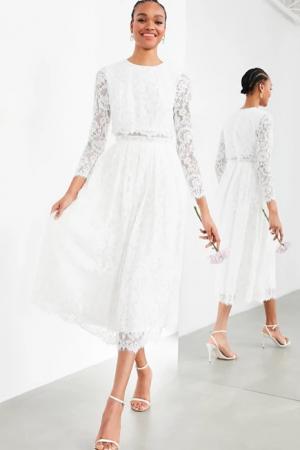 Kanten midi-jurk met croptop