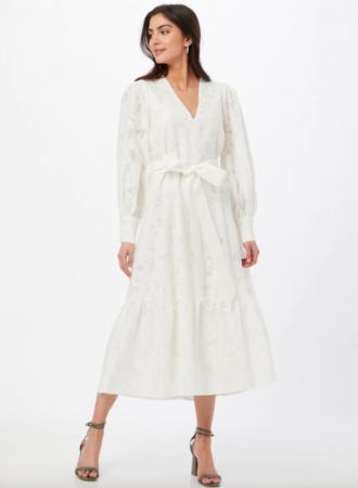 Geborduurde midi-jurk met V-hals en riempje