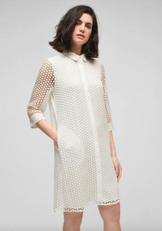 Mini-jurk met transparante driekwartmouwen en kraagje