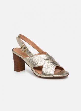 Bronskleurige sandalen met blokhak
