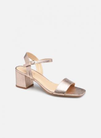 Roségoudkleurige sandalen met blokhak