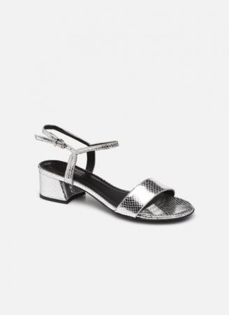 Zilverkleurige sandalen met slangenmotief
