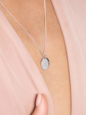 Zilveren halsketting met geboortebloem