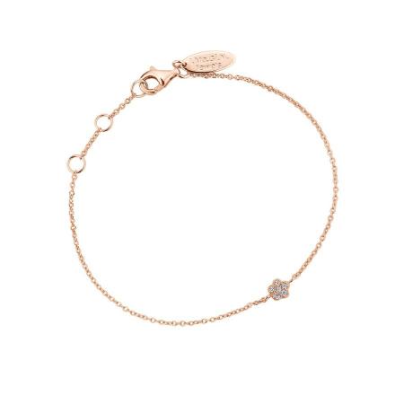 Armband met fijn bloementje in roségoud